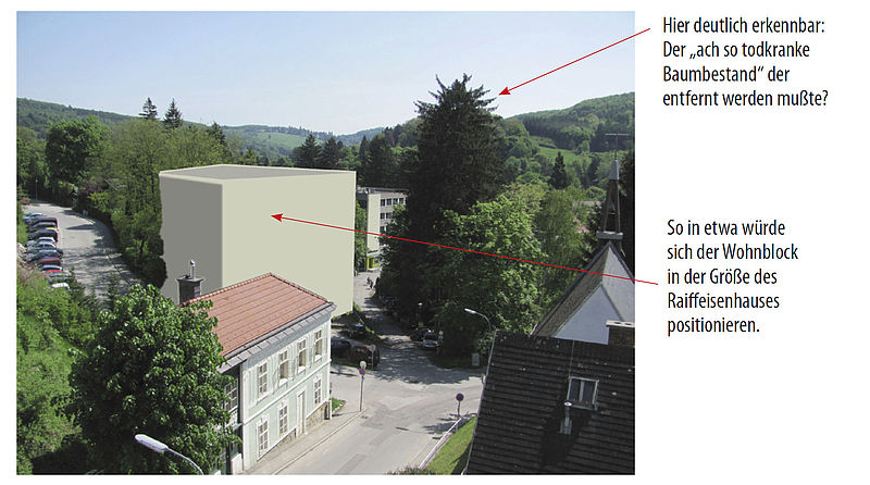 """Angenommene Bau-Silhouette des """"betreuten"""" Wohnblocks"""